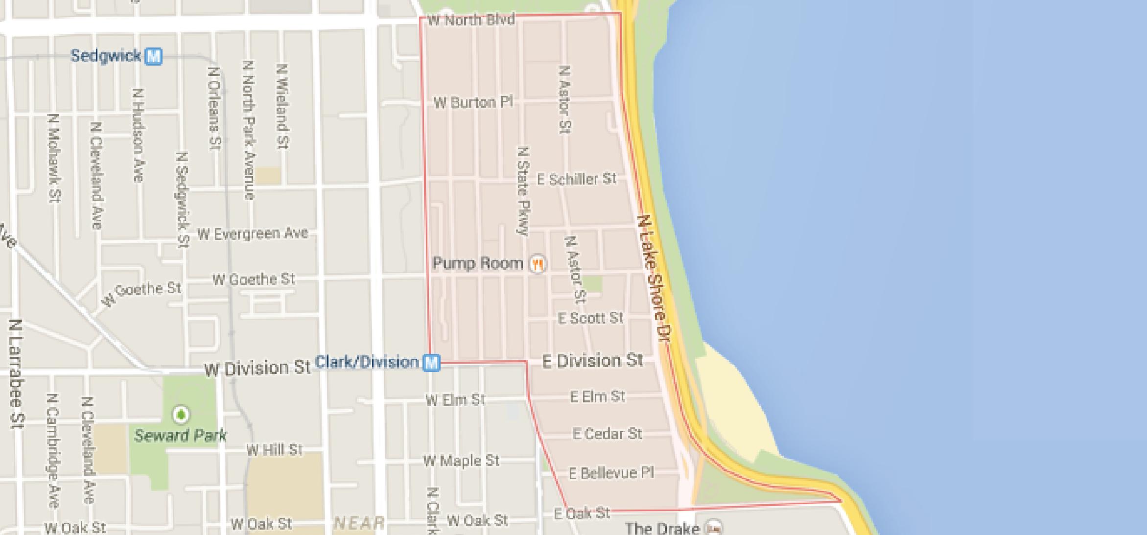 Chicago's Gold Coast Neighborhood Map |