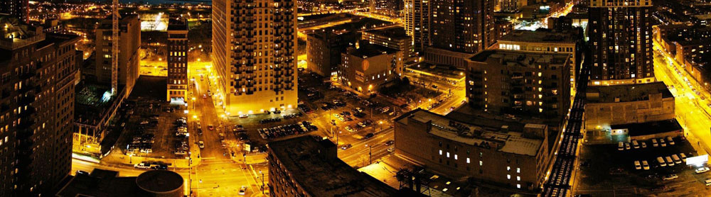 South Loop skyline at night.