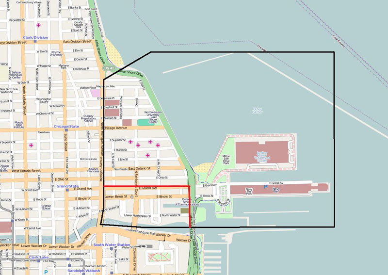 Boundary Map of Streeterville Chicago
