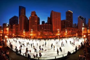ice skating millenium park near the loop downtown winter festivities