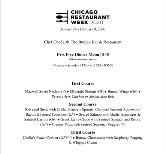 South Loop restaurant week places to eat chesas at the bureau bar
