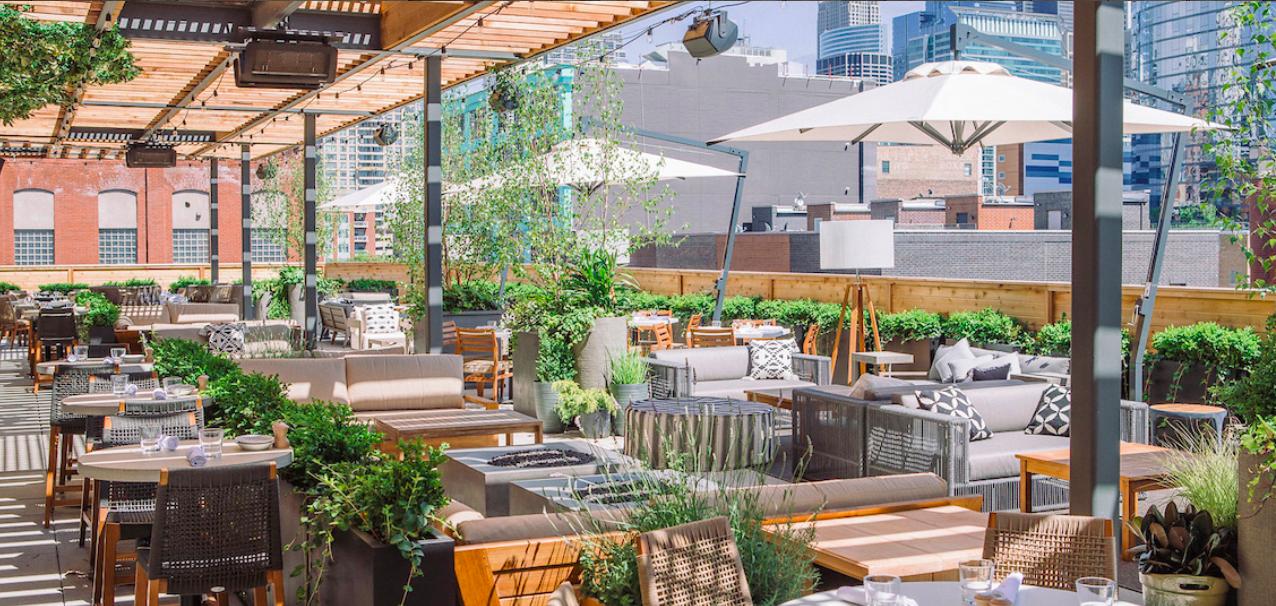 Outdoor rooftop dining chicago in West Loop